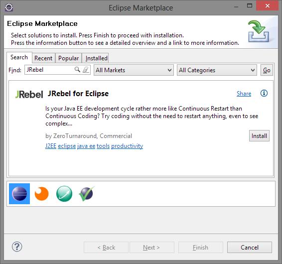 Descargar PlugIn JRebel para Eclipse IDE