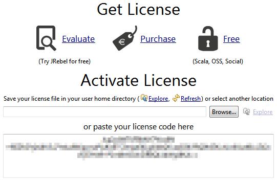 Ingresar licencia para el plugin de JRebel
